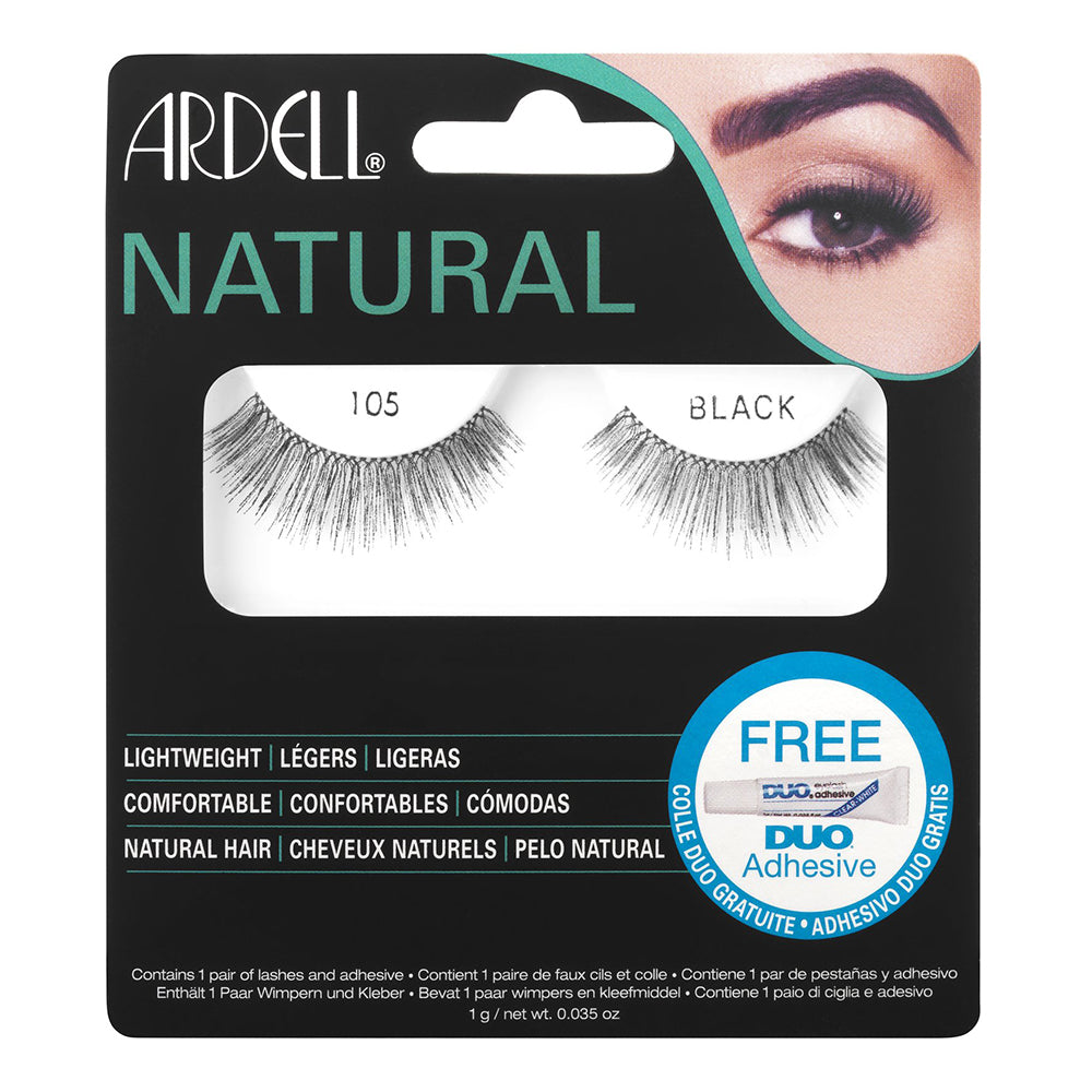 Ardell Natural Lashes 105 Black with Free DUO Lash Adhesive Clear 1g