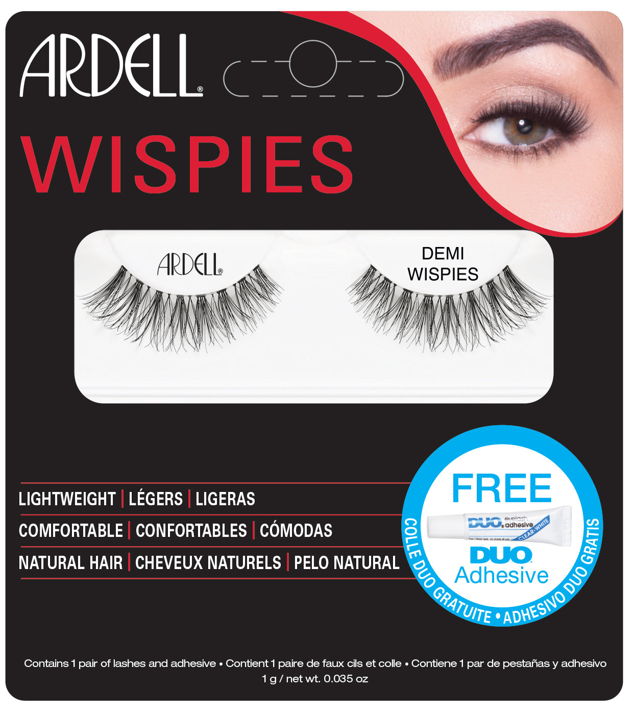 Ardell Wispies Demi Lashes Black with Free DUO Lash Adhesive (Clear) 1g