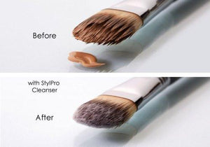 StylPro Vegan Makeup Brush Cleanser Solution Before and After