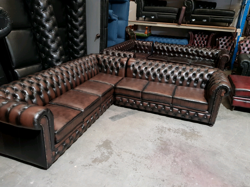 Groovy Chesterfield L Shape 7 Seater In Antique Brown Cow Leather Camellatalisay Diy Chair Ideas Camellatalisaycom