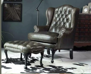 MERRY WIDOW WING CHAIR & OTTOMAN CHESTERFIELD