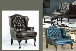 MERRY WIDOW WING CHAIR & OTTOMAN - Classic Chesterfield