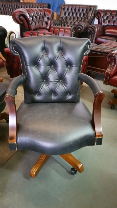 Chesterfield Count Office Chair Genuine Leather Old Vintage Oil Black