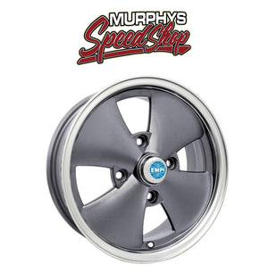 "EMPI 10-1093 15"" X 5-1/2"" VW BUG 4 LUG ANTHRACITE EMPI 4 SPOKE WHEEL INCLUDES CAP-VALVE STEM"