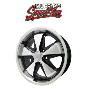 "EMPI 10-1108 15"" X 4-1/2"" VW BUG 5 LUG BLACK/POLISHED EMPI 911 ALLOY WHEEL W/ CAP-VALVE STEM"
