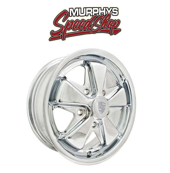"EMPI 10-1109 15"" X 4-1/2"" VW BUG 5 LUG CHROME EMPI 911 ALLOY WHEEL INCLUDES CAP-VALVE STEM"
