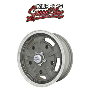 "EMPI 10-1121 15"" X 5-1/2"" VW BUG 5 LUG GUN METAL GREY EMPI CORSA WHEEL INCLUDE CAP-VALVE STEM"