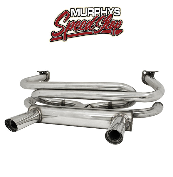 EMPI 3761 Stainless Steel 2-Tip Exhaust, Type 1 & Ghia, 66-73, 1300-1600cc
