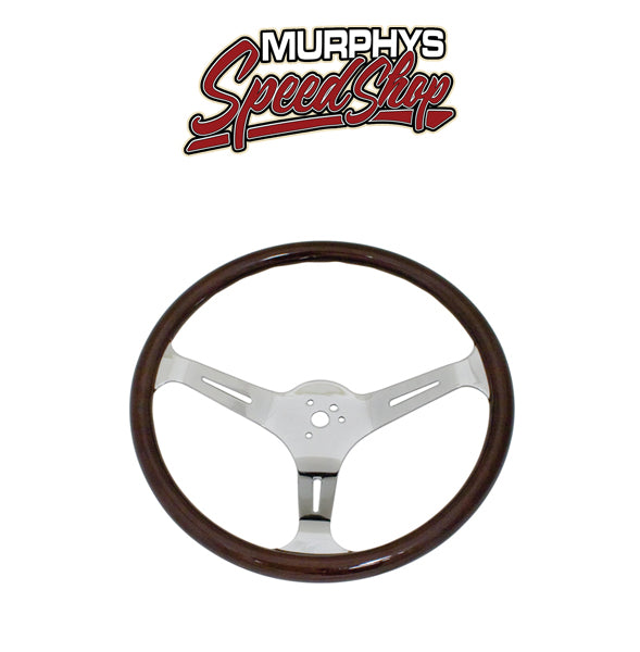 "EMPI 79-4022-7 STEERING WHEEL, 23mm Wood Grip 15"" Diameter, 3"" Dish Dark"