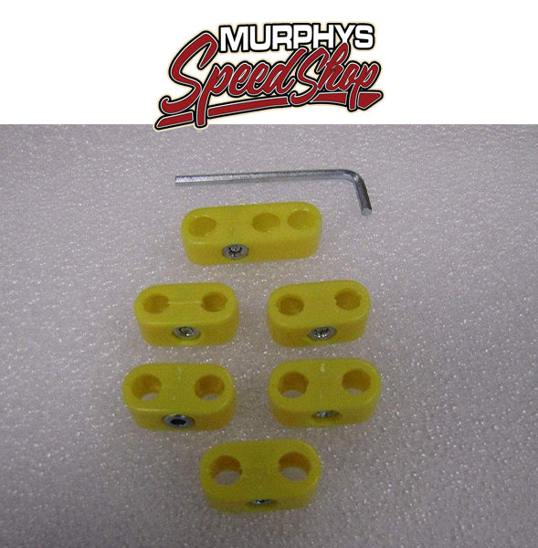 EMPI 8750 SPARK PLUG WIRE SEPARATORS, Yellow, 6 Piece Kit