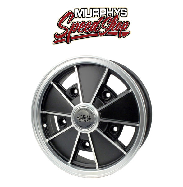 "EMPI 9675 15"" X 5"" VW BUG 5 LUG MATTE BLACK EMPI BRM WHEEL INCLUDES CAP-VALVE STEM"