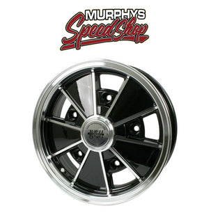 "EMPI 9676 15"" X 5"" VW BUG 5 LUG BLACK EMPI BRM WHEEL INCLUDES CAP-VALVE STEM"