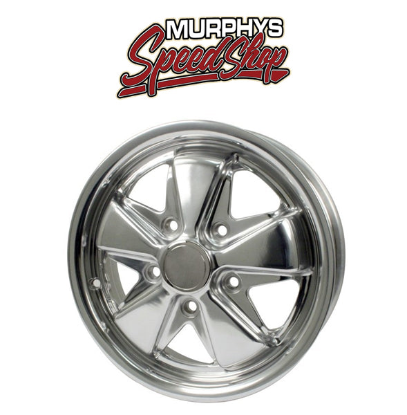 "EMPI 9680 15"" X 5-1/2"" PORSCHE 5 LUG CHROME EMPI 911 ALLOY WHEEL INCLUDES CAP-VALVE STEM"