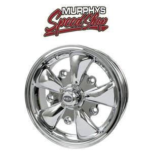 "EMPI 9686 15"" X 5-1/2"" VW BUG 5 LUG CHROME EMPI 5 SPOKE WHEEL INCLUDES CAP-VALVE STEM"