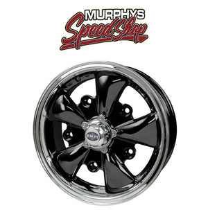 "EMPI 9690 15"" X 5-1/2"" VW BUG 5 LUG BLACK EMPI 5 SPOKE WHEEL INCLUDES CAP-VALVE STEM"