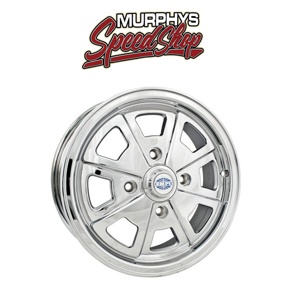 "EMPI 9723 15"" X 5-1/2"" VW BUG 4 LUG CHROME EMPI 914 ALLOY WHEEL INCLUDES CAP-VALVE STEM"