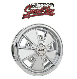 "EMPI 9730 15"" X 6-1/2"" VW BUG 5 LUG CHROME EMPI BRM WHEEL INCLUDES CAP-VALVE STEM"