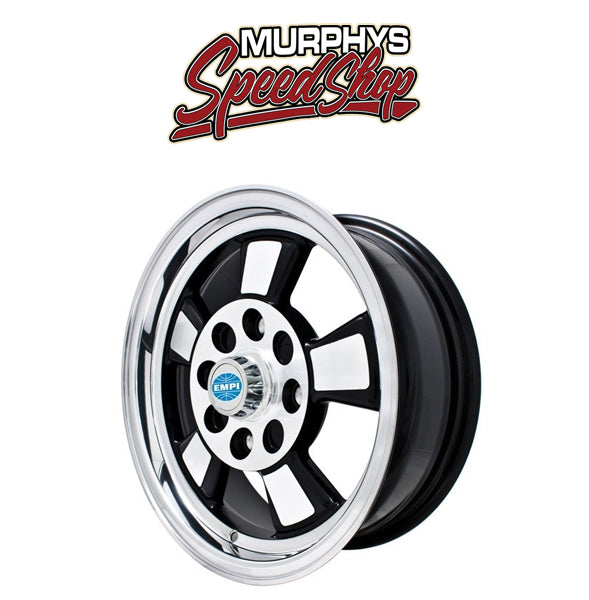 "EMPI 9732 15"" X 5-1/2"" VW BUG 4 LUG BLACK/POLISHED EMPI RIVIERA WHEEL WITH CAP-VALVE STEM"