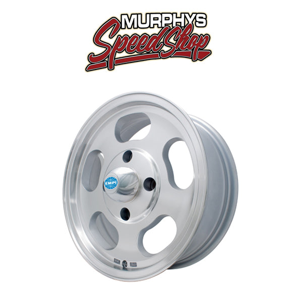 "EMPI 9749 15"" X 5-1/2"" VW BUS 5 LUG MACHINE FINISH EMPI DISH WHEEL INCLUDES CAP-VALVE STEM"