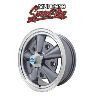 "EMPI 9750 15"" X 5-1/2"" VW BUG 5 LUG ANTHRACITE EMPI 5-RIB WHEEL INCLUDES CAP-VALVE STEM"