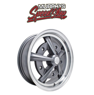 "EMPI 9752 15"" X 5"" VW BUG 5 LUG ANTHRACITE RAIDER WHEEL INCLUDES CAP-VALVE STEM"
