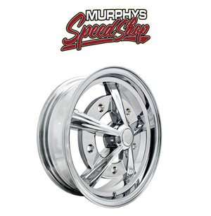 "EMPI 9753 15"" X 5"" VW BUG 5 LUG CHROME RAIDER WHEEL INCLUDES CAP-VALVE STEM"