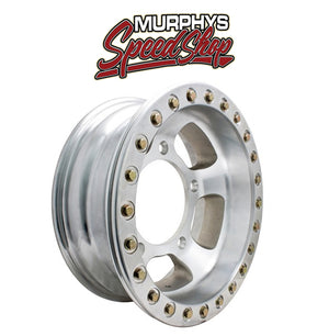 "EMPI 9767 15"" X 12"" VW BUG 5 LUG RACE-TRIM OFF ROAD BEAD-LOCK WHEEL / POLISHED RING"