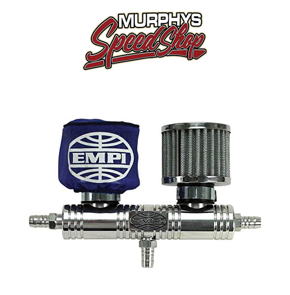 EMPI 16-2049 Billet Breather Tube w/Blue Filter Covers