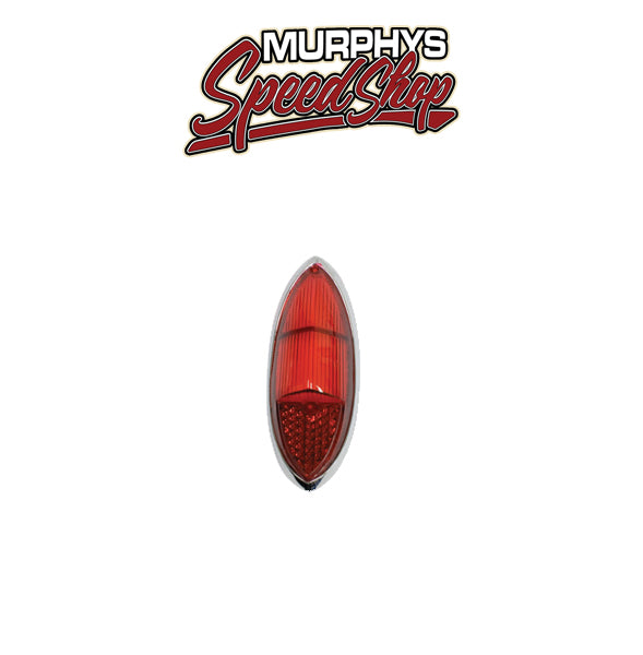 EMPI 98-8616 Tail Light Lens w/ Chrome Ring, Ghia 60-69, 100% Red, Each