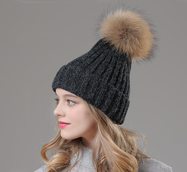 a7791be03de Winter Womens Hats Beanie Wool Knitted Real Fur Pom pom Hat Skullies For  Girls 2018 New