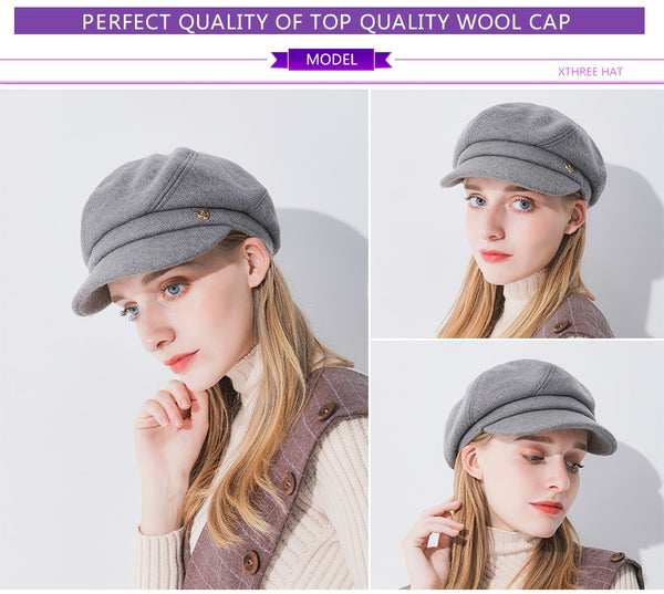 bce8284c963dfd winter women's hat wool octagonal hat with visor fashion solid newsboys hat  for girl women autumn