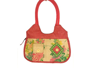 Floral Design Red Hand Bag