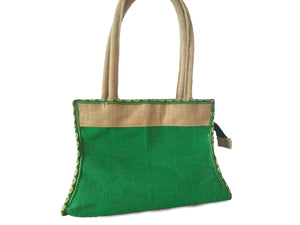 Flower Pattern Green Hand Bag