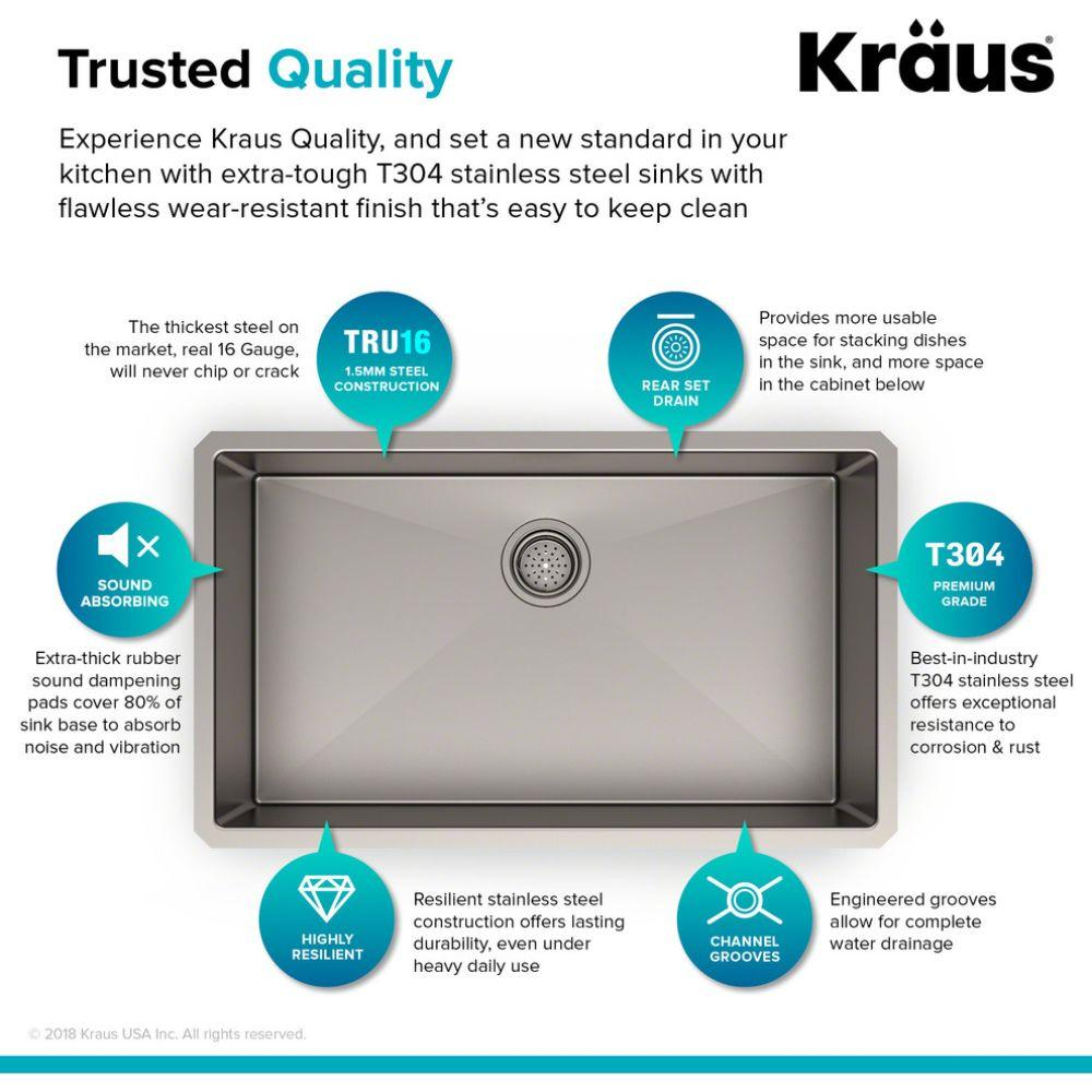 Kraus Standart Pro 16 Gauge Undermount Single Bowl Stainless Steel Sink