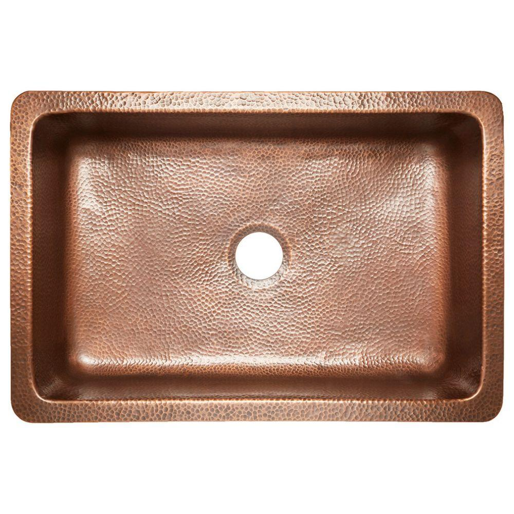 Ganku Farmhouse Copper Kitchen Sink With Scroll, Antique Copper