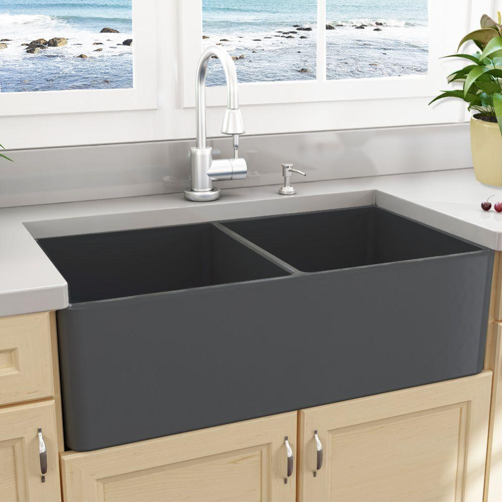 Nantucket Sink Double Bowl Gray Fireclay Farmhouse Sink