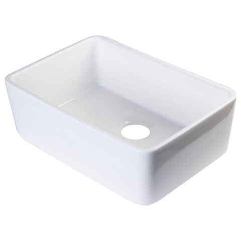 Alfi Brand Fireclay Single Bowl Farmhouse Apron Kitchen Sink In White
