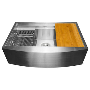 Akdy Apron Farmhouse Handmade Stainless Steel Kitchen Sink
