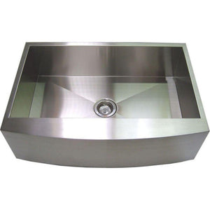 Handmade Farmhouse Curved Front Apron Stainless Steel Kitchen Sink