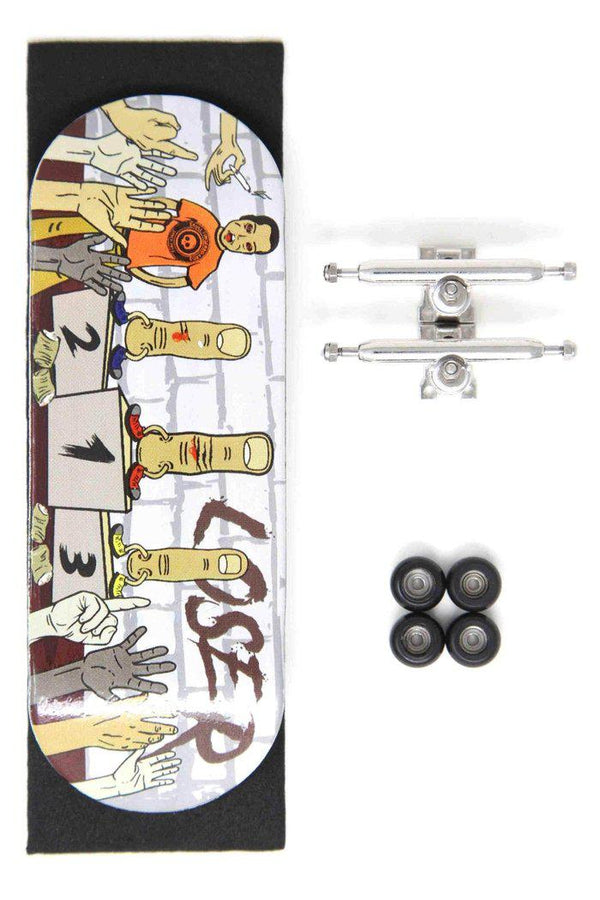 S.K.A.T.E Pro Complete Wooden Fingerboard (34mm) (Skull Pro Trucks - Single Axle - 6 Locknuts)