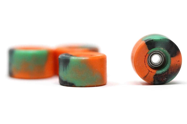 Elastico - Orange/Green/Black Swirl Urethane Wheels (70D Bowl Shape)