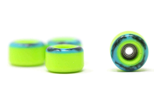 Elastico - Blue/Black/Green Swirl Tip Urethane Wheels (70D Street Shape)
