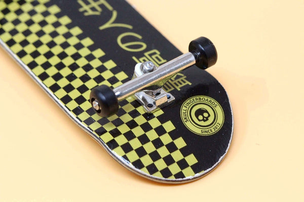 Japan Gold Edition Pro Complete Wooden Fingerboard (34mm) (Skull Pro Trucks - Single Axle - 6 Locknuts)