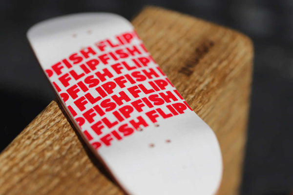 Flipfish - Red/White Text Fingerboard Deck (34mm)