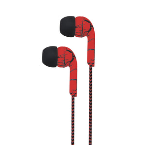 Earphone With Wire Mic & Control, 3.5mm, Abstract Printing, Red + Black