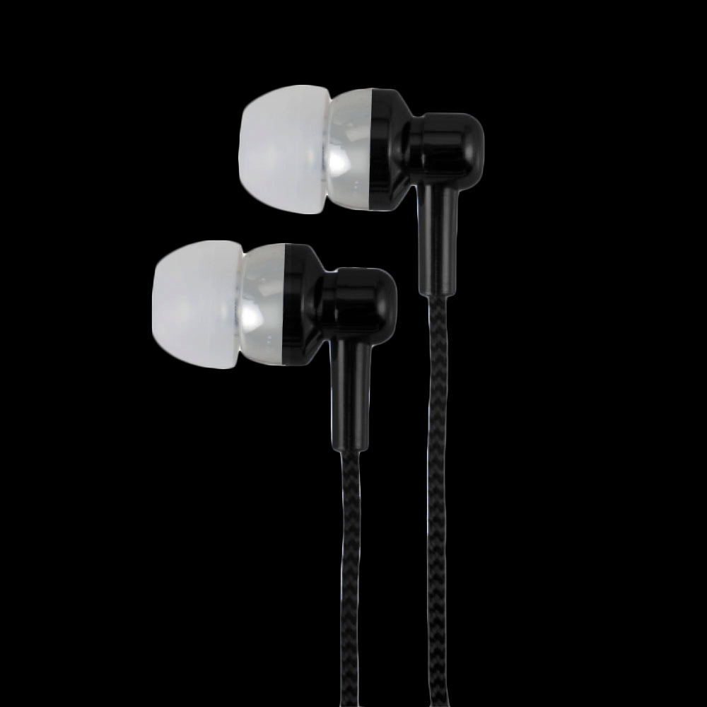 Earphone With Wire Mic & Control, 3.5mm, Metallic Paint, Black