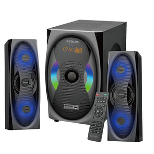 "2.1CH Multimedia Speakers, 120W RMS, 6.5 + 3.0"" x 2, LED Lights, USB, SD, Aux, BT, FM, W/L Remote, Black"