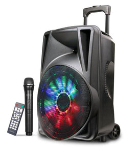 "Trolley Multimedia Speaker, 12.0"" Sub, 30W RMS, USB, SD, Aux, BT, FM Radio, W/L Mic, Remote, Led lights, Black"