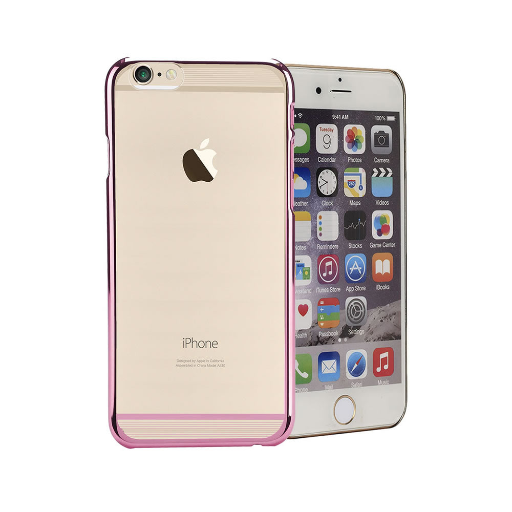 Electro Paint Clear Case, For iPhone® 6 / 6s, Clear case with Electro paint strips, Transparent + Pink