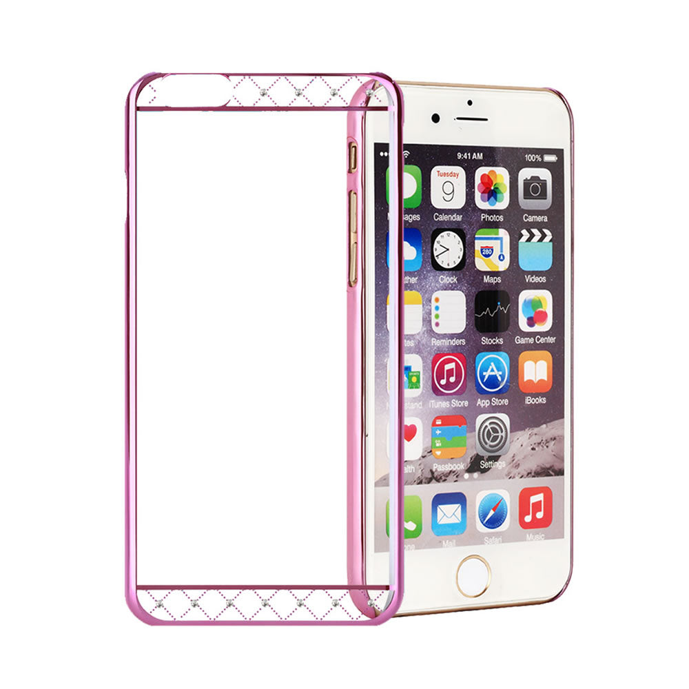 Swarovski® Element Case, For iPhone® 6 / 6s, Hard PC transparent material, Crystals Strip, Pink